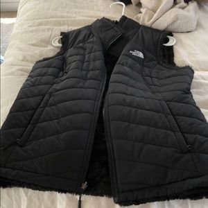 reversible furry vest from north face